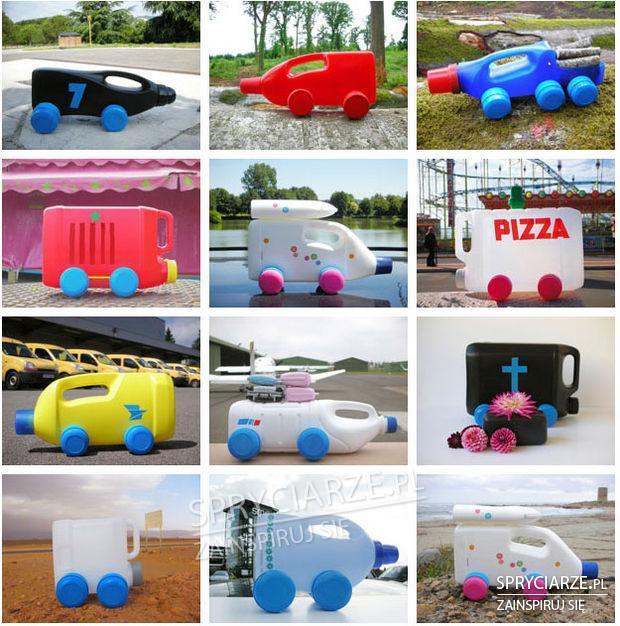 Zabawkowe pojazdy z butelek