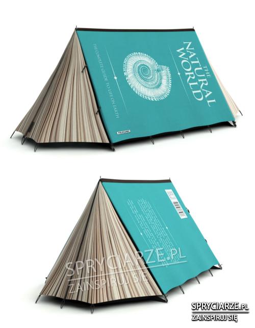 Namiot przypominający książkę