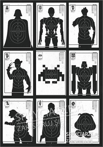 Tarcze strzelnicze z różnymi postaciami