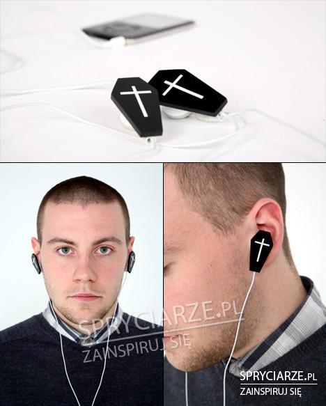 Słuchawki z motywem trumny