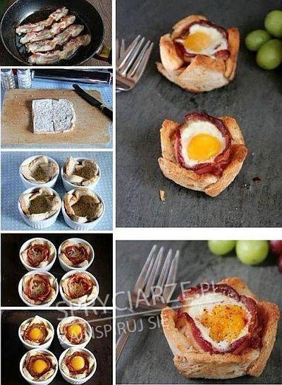 Chleb, jajko i bekon przygotowane w ciekawy sposób