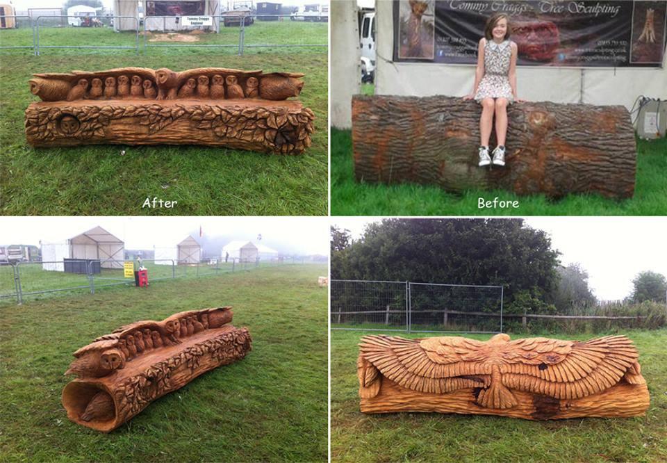 Prawdziwie rzeźbiona ławka