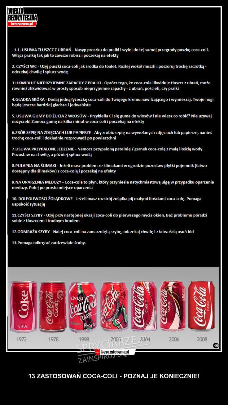 13 zastosowań Coca Coli o których nie wiedziałeś