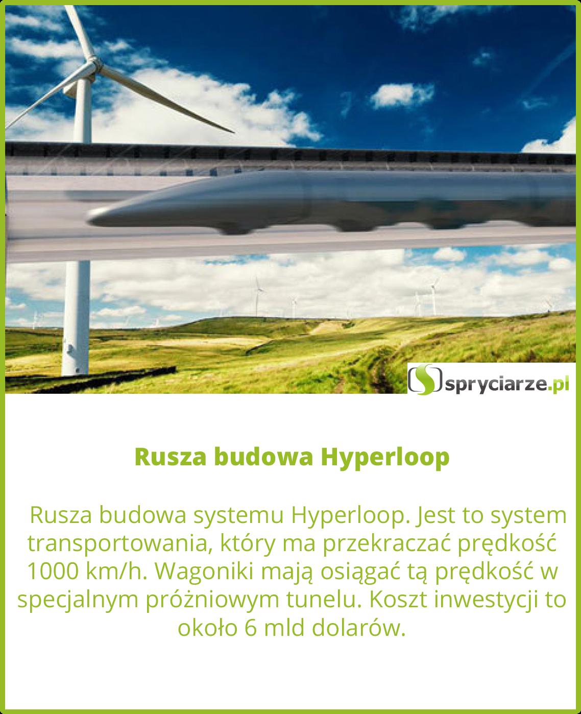 Rusza budowa Hyperloop