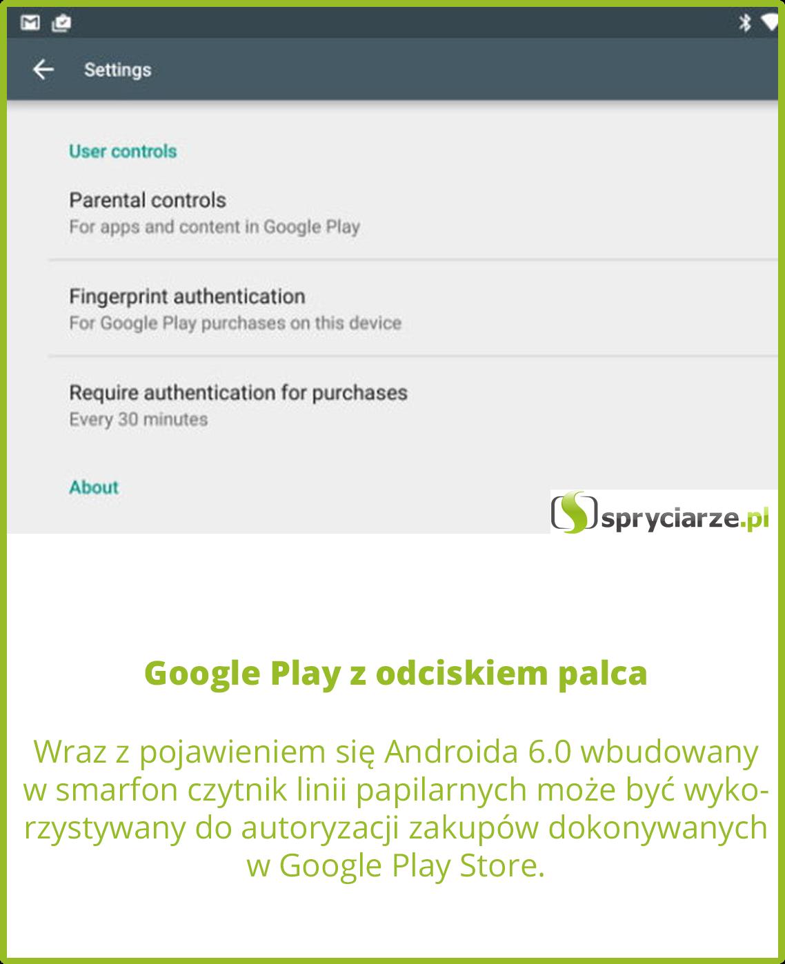 Google Play z odciskiem palca
