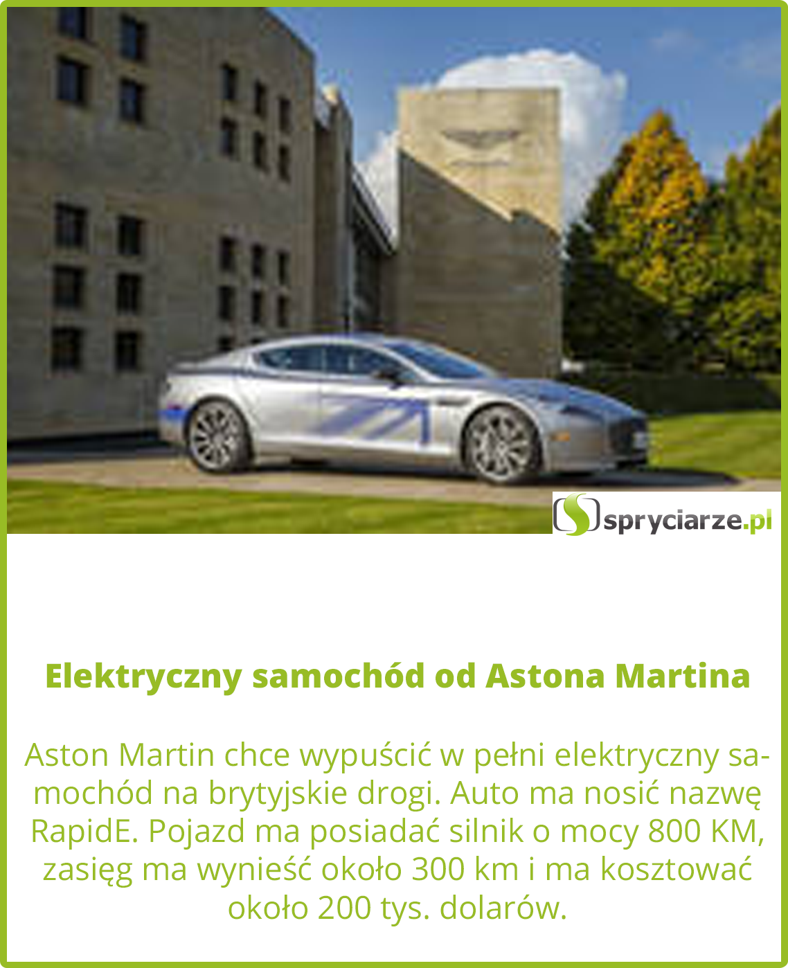 Elektryczny samochód od Astona Martina