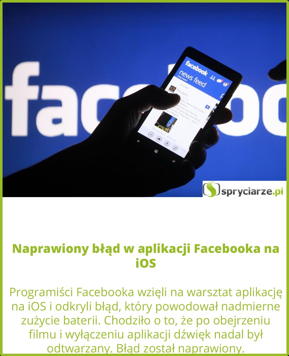 Naprawiony błąd w aplikacji Facebooka na iOS