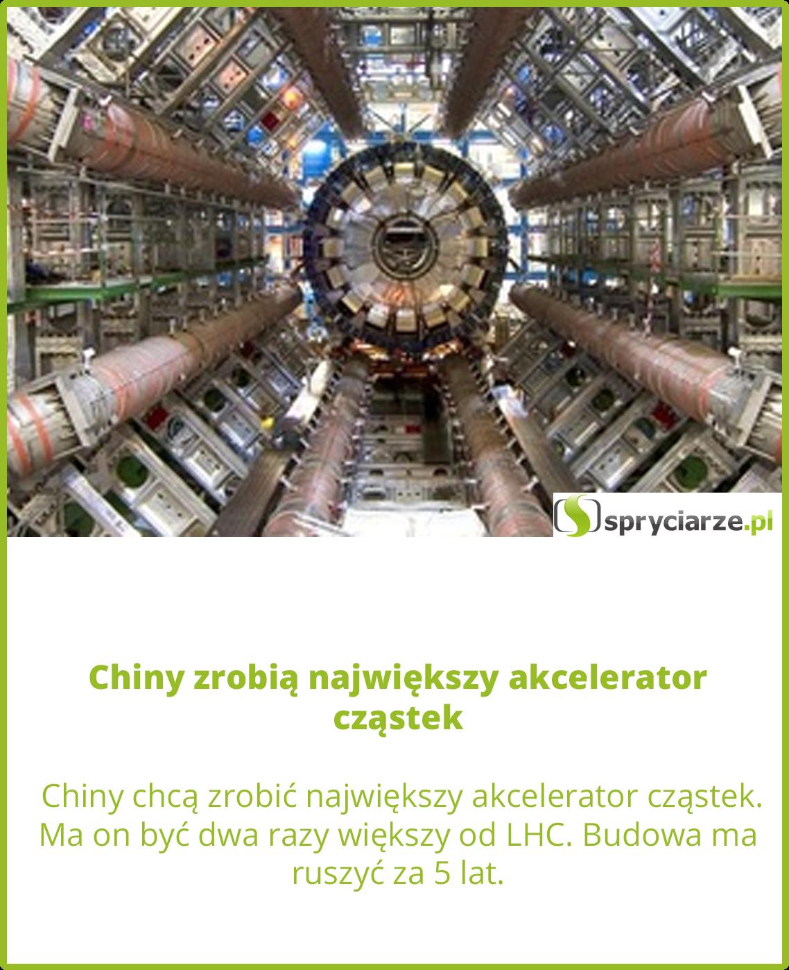 Chiny zrobią największy akcelerator cząstek