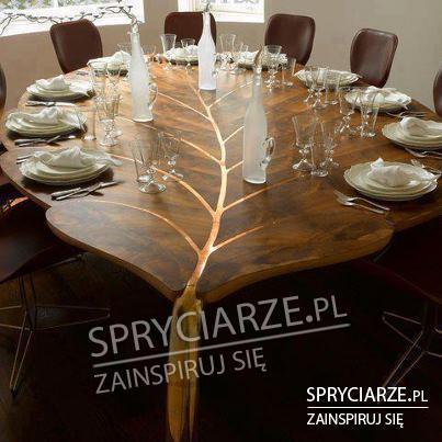 Stół w kształcie liścia - pmysł do restauracji