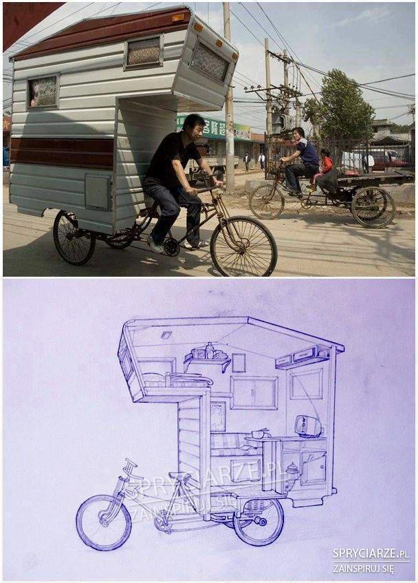 domek na rowerze